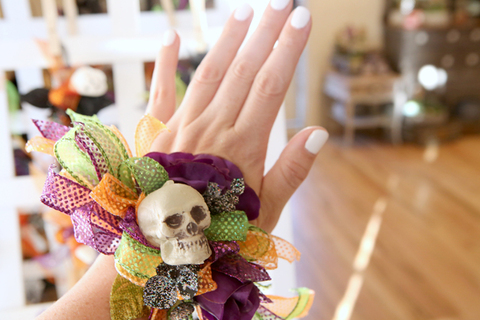 Simply Flowers at Gardner Village - witchfest wrist corsages