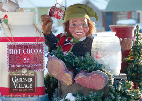 Christmas at Gardner Village - Elf with hot cocoa