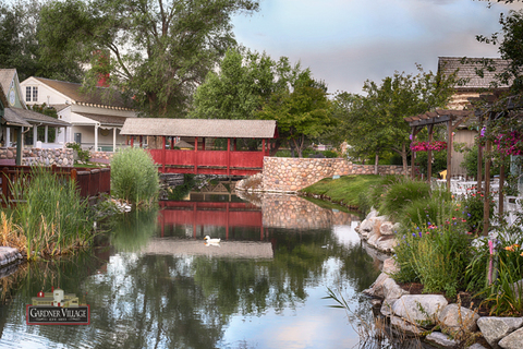 Gardner Village - Pond and bridge at Gardner Village