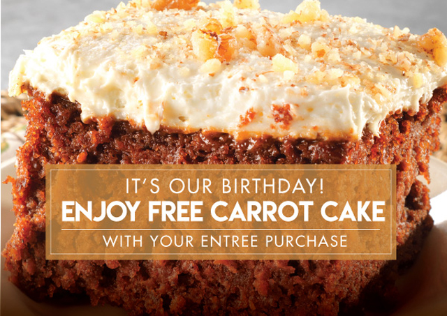 free carrot cake in january