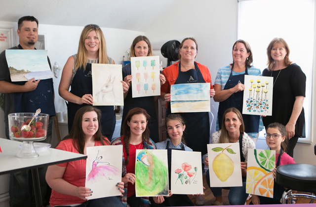 paint party class at The Art Cottage