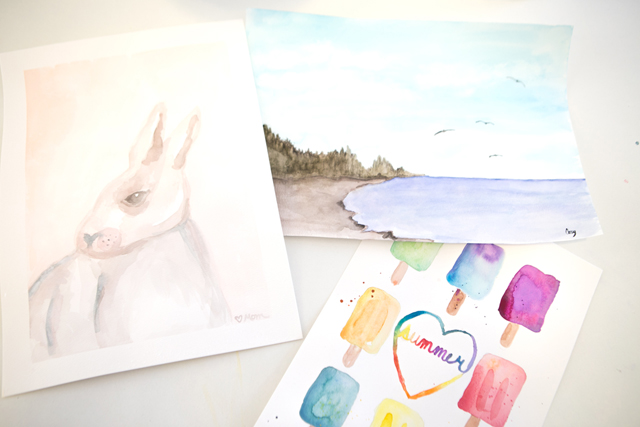 watercolor paintings rabbit popsicles beach