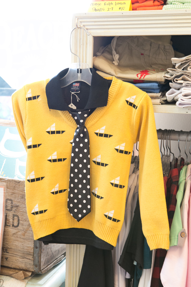 yellow sweater and tie for boy