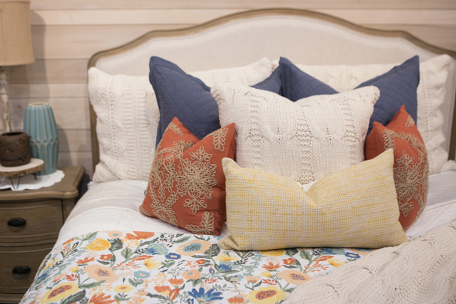 bright accent pillows floral bedding