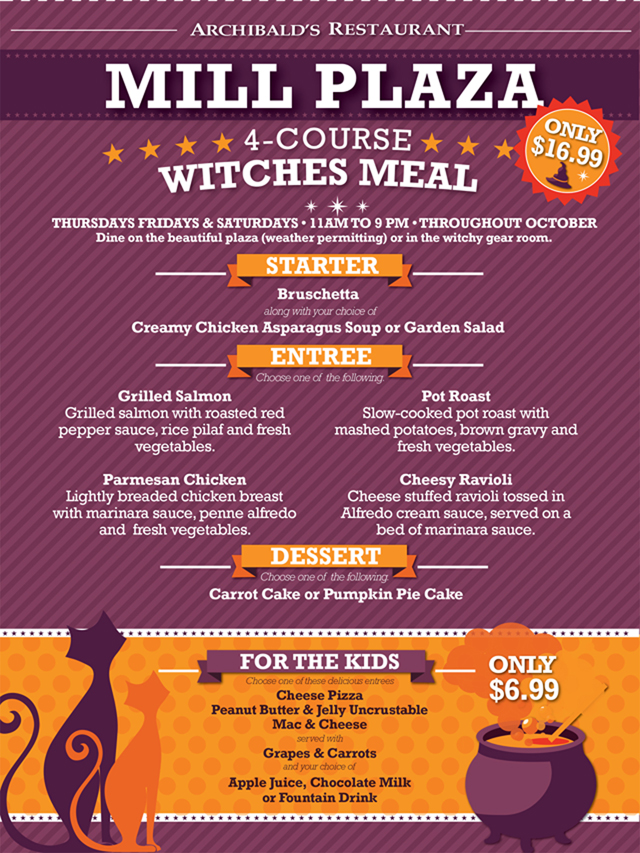 mill plaza witchfest menu